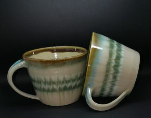 Cups - Clear & Feather Green